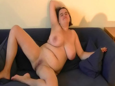 Maya - brunette, shaved pussy, fat, pussy, bed, HD, solo girl