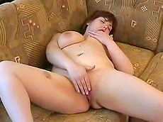 Julya - big tits, brunette, fingering, shaved pussy, chubby, HD, sofa, solo girl, masturbation, young