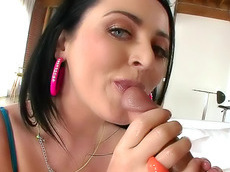 Sophie Dee - big tits, brunette, shaved pussy, handjob, chubby, creampie, pussy, cream, hardcore, cock