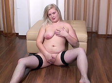Lana - blonde, fingering, stockings, ass, natural tits, fatty, solo girl
