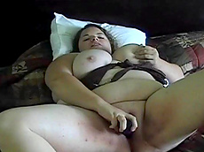 Hunny Bunz - brunette, shaved pussy, dildo, toys, fat, solo girl