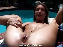 Sexy MILF With Shaved Pussy and Small Tits Gets Fucked Poolside