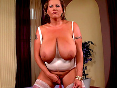 Laura M - tattoo, stockings, busty, fat, solo girl, trimmed pussy